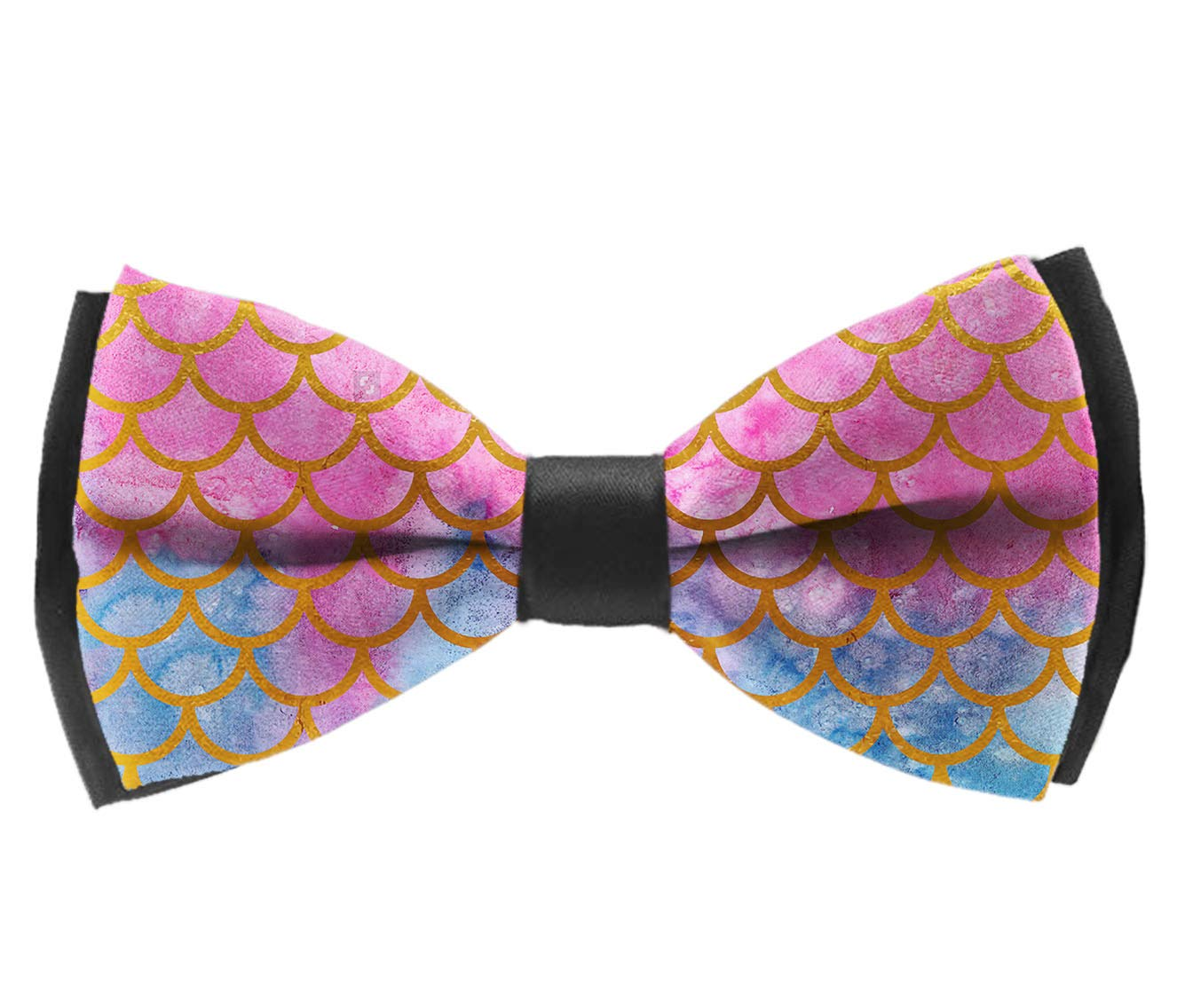 Pre-Tied Party Bowtie Mermaid Watercolor Gold Pink Fish Scales INWANZI Classic Adjustable Bow Tie for Men /& Boys