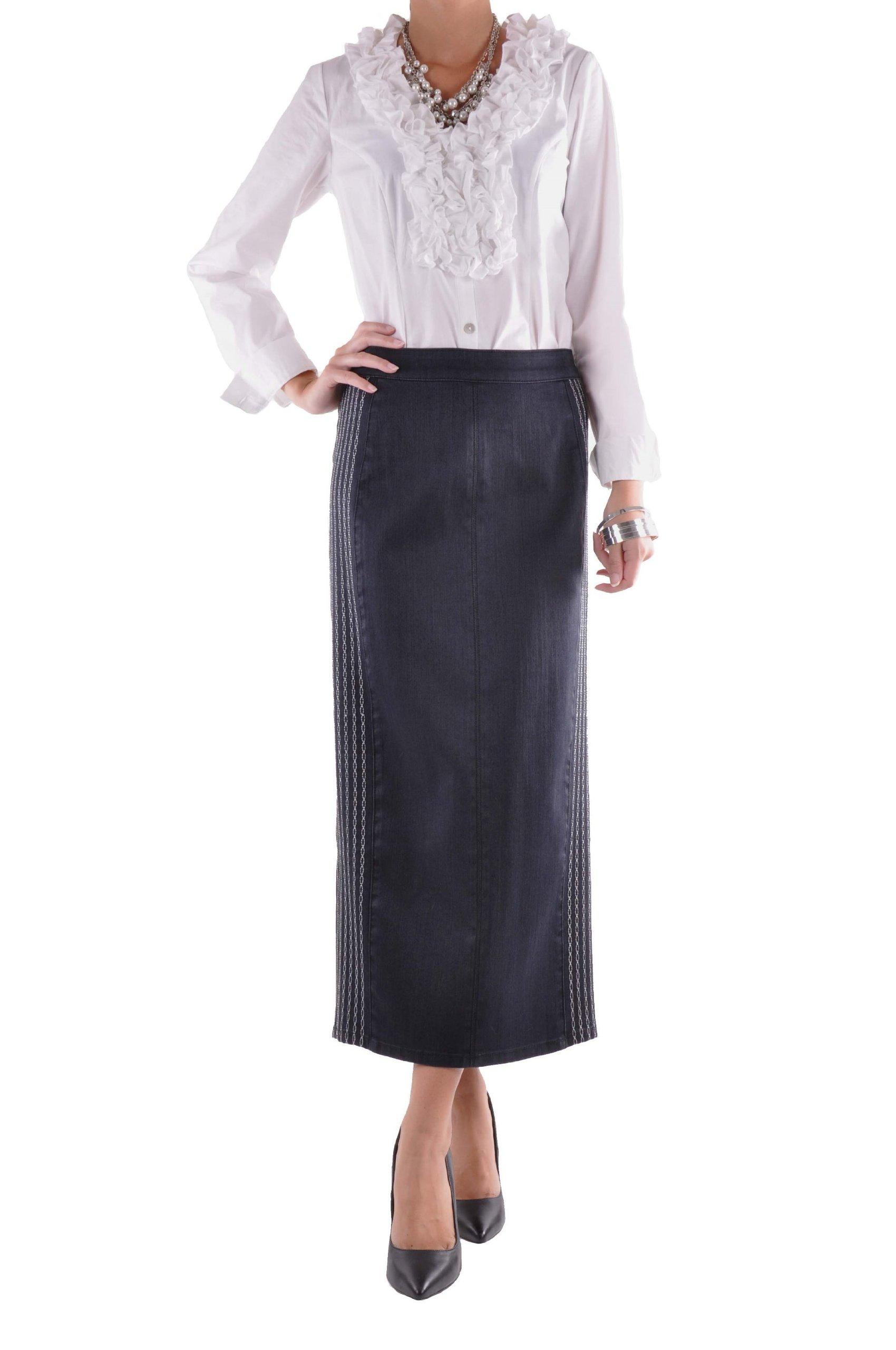 Style J Office Chic Denim Skirt-Blue-30(10)