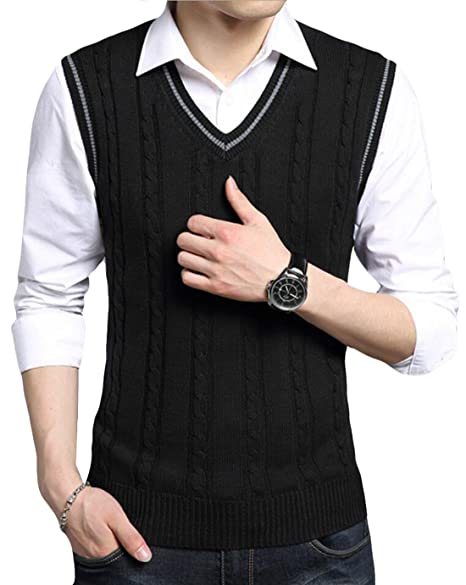 Gaga Mens Casual V Neck Cable Knit Sleeveless Sweater Vest At