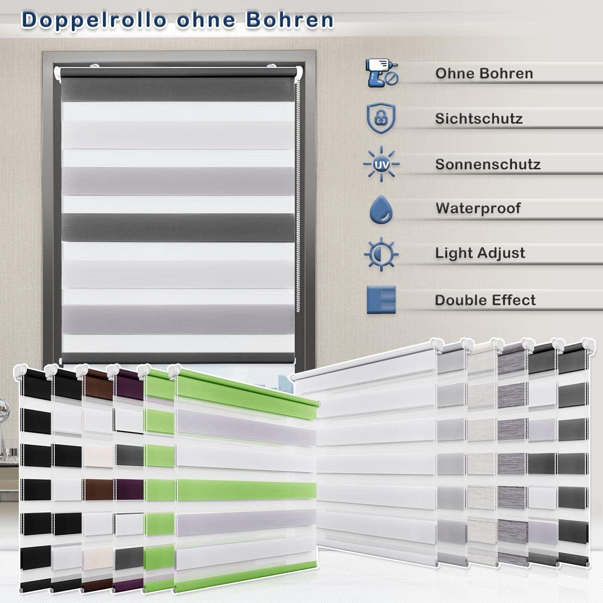 Sanfree Store Enrouleur Jour Nuit sans Per/çage pour Fen/être /& Porte Anthracite 40x150cm Double Tissu Transparent et Opaque