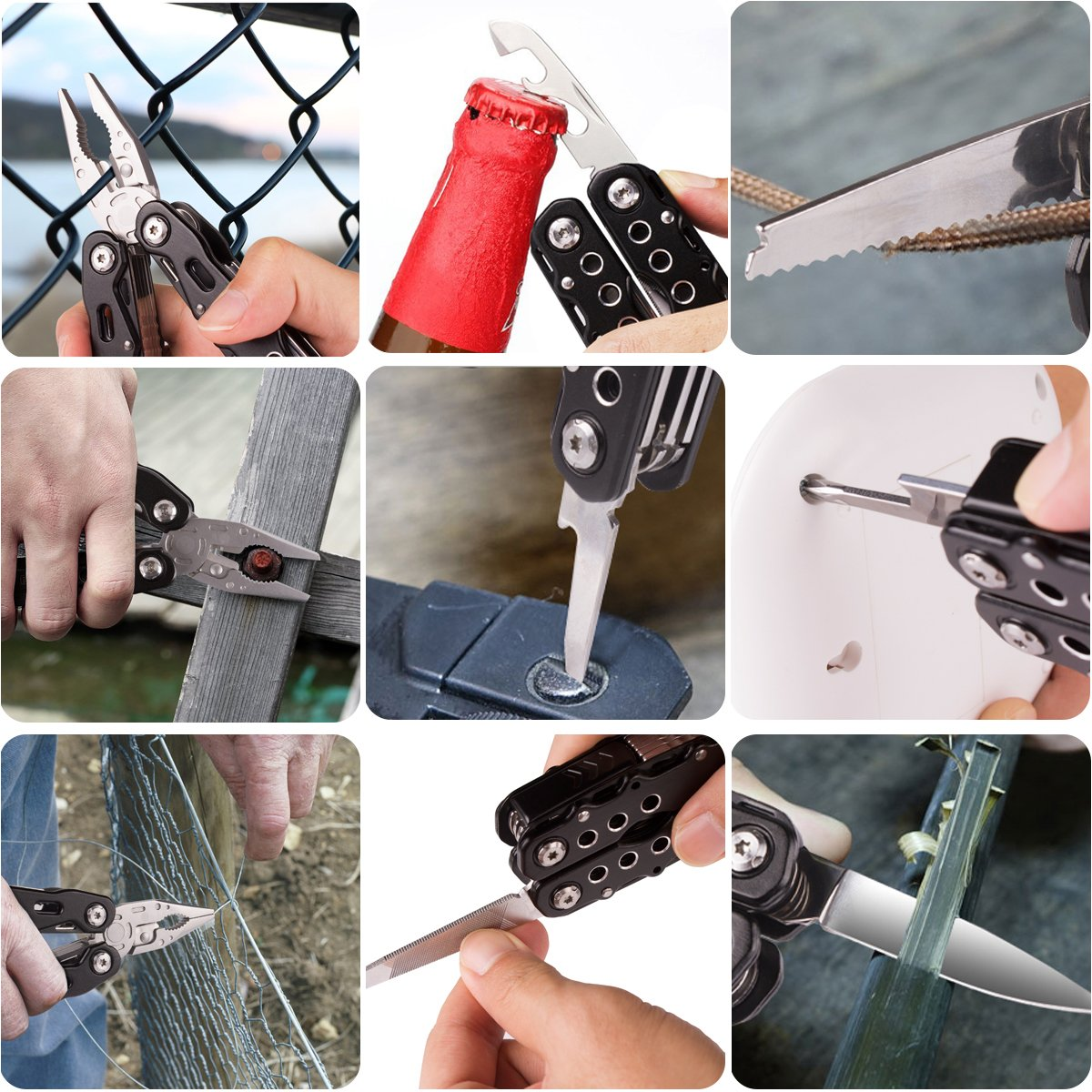Morpilot Multitool, 25 in 1 Multitool Pliers Stainless Steel Folding Pocket Knife Plier Kit with Durable Nylon Sheath for Survival, Camping, Hiking, Hunting, Fishing (14 in 1 Multitool)
