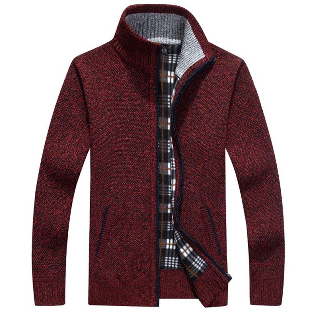PUTAOJIAZI Autumn Winter Warm Cashmere Wool Zipper Pullover Sweaters Man Casual Knitwear Burgundy XXL