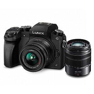 PANASONIC LUMIX G7 4K Digital Mirrorless Camera Bundle with LUMIX G Vario 14-42mm and 45-150mm Lenses, 16MP, 3-Inch Touch LCD, DMC-G7WK (USA Black)