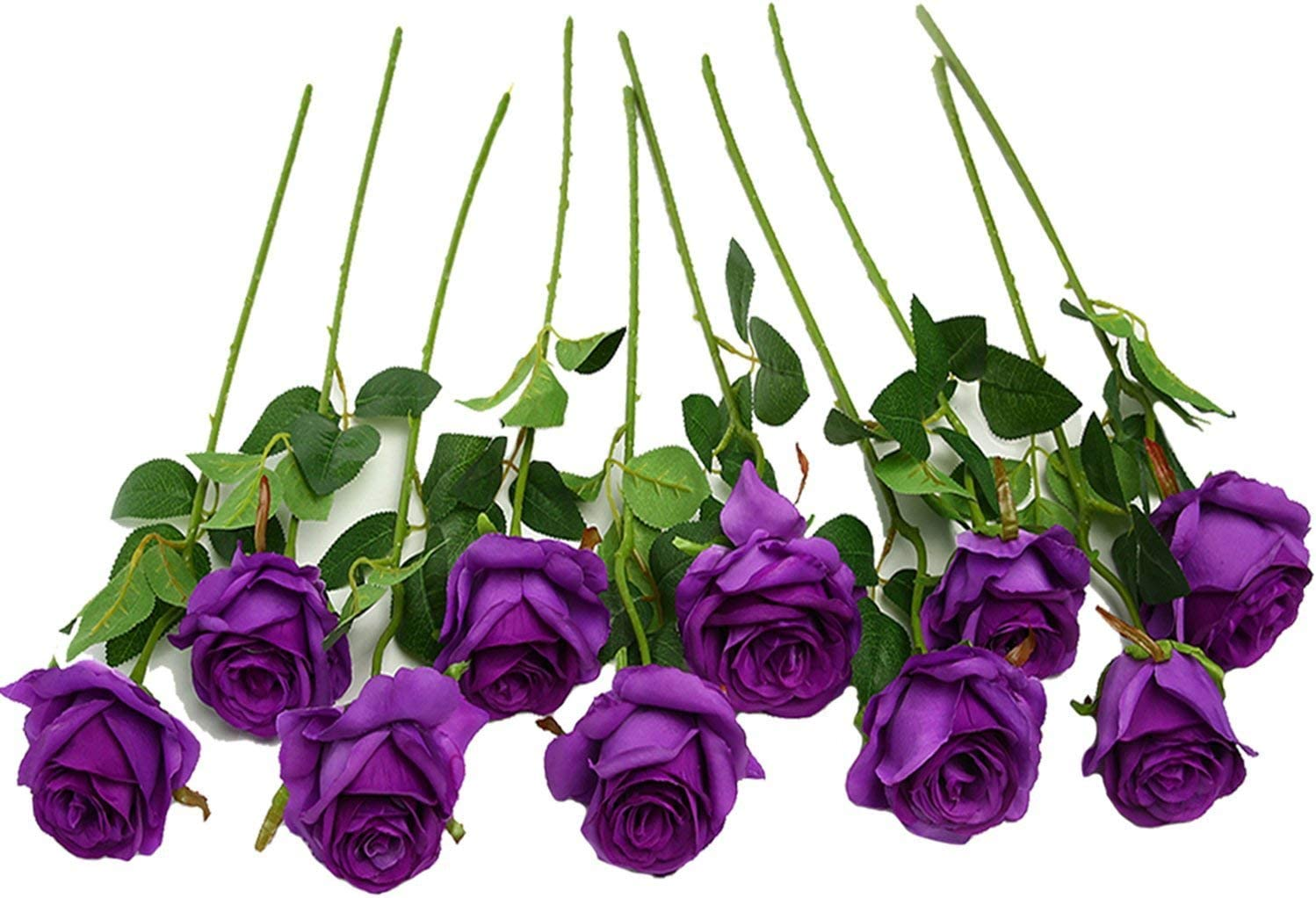 JUSTOYOU 10pcs Artificial Rose Silk Flower Blossom Bridal Bouquet for Home Wedding Decor(Purple)