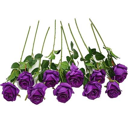 Amazon justoyou 10pcs artificial rose silk flower blossom justoyou 10pcs artificial rose silk flower blossom bridal bouquet for home wedding decorpurple mightylinksfo