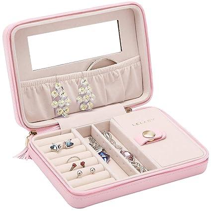 d0db0eb61c591 JL LELADY JEWELRY Small Jewelry Box Organizer Travel Jewelry Case Portable  Faux Leather Jewelry Organizer Boxes Storage Case with Mirror for Women ...