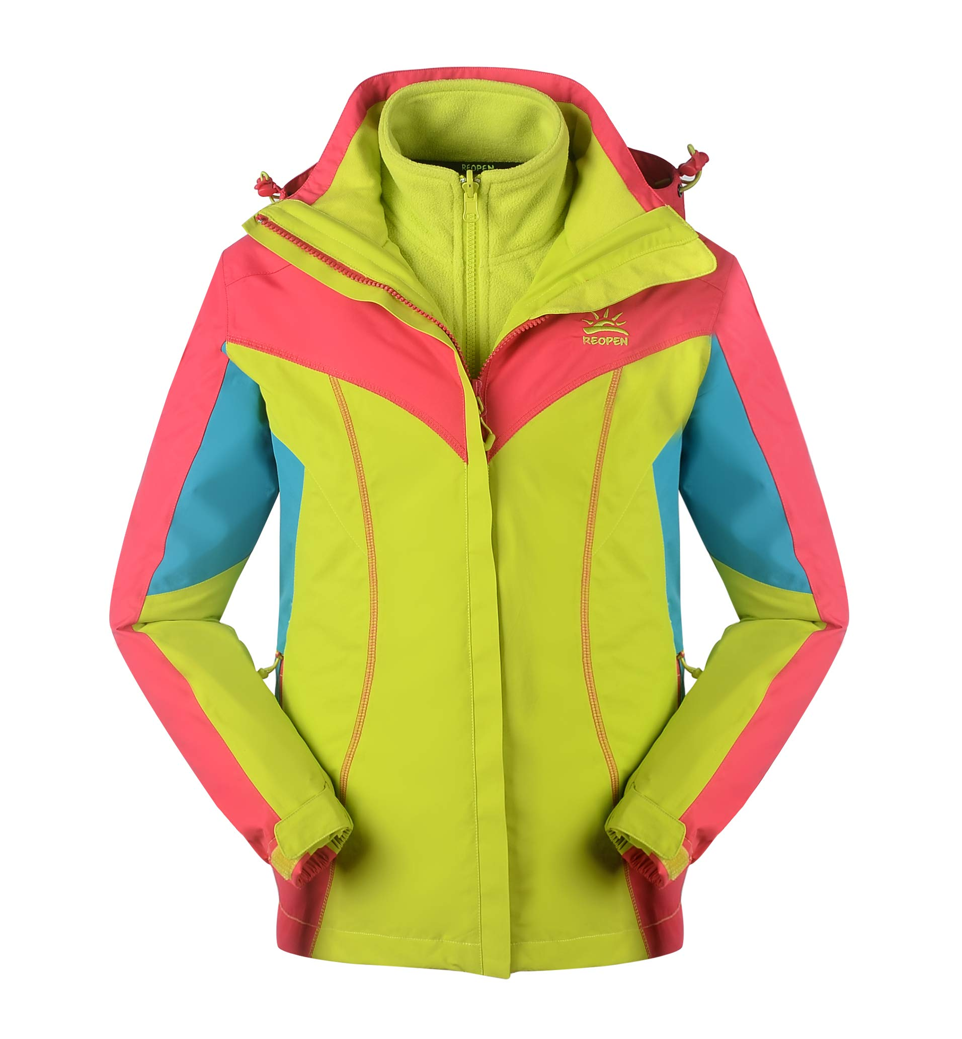 Reopen Girl's Outdoor 3 in 1 Sports Jacket Mountain Waterproof Ski Jacket with Inner Detachable Fleece Coat and Detachable Hat (120/56A, Blue)