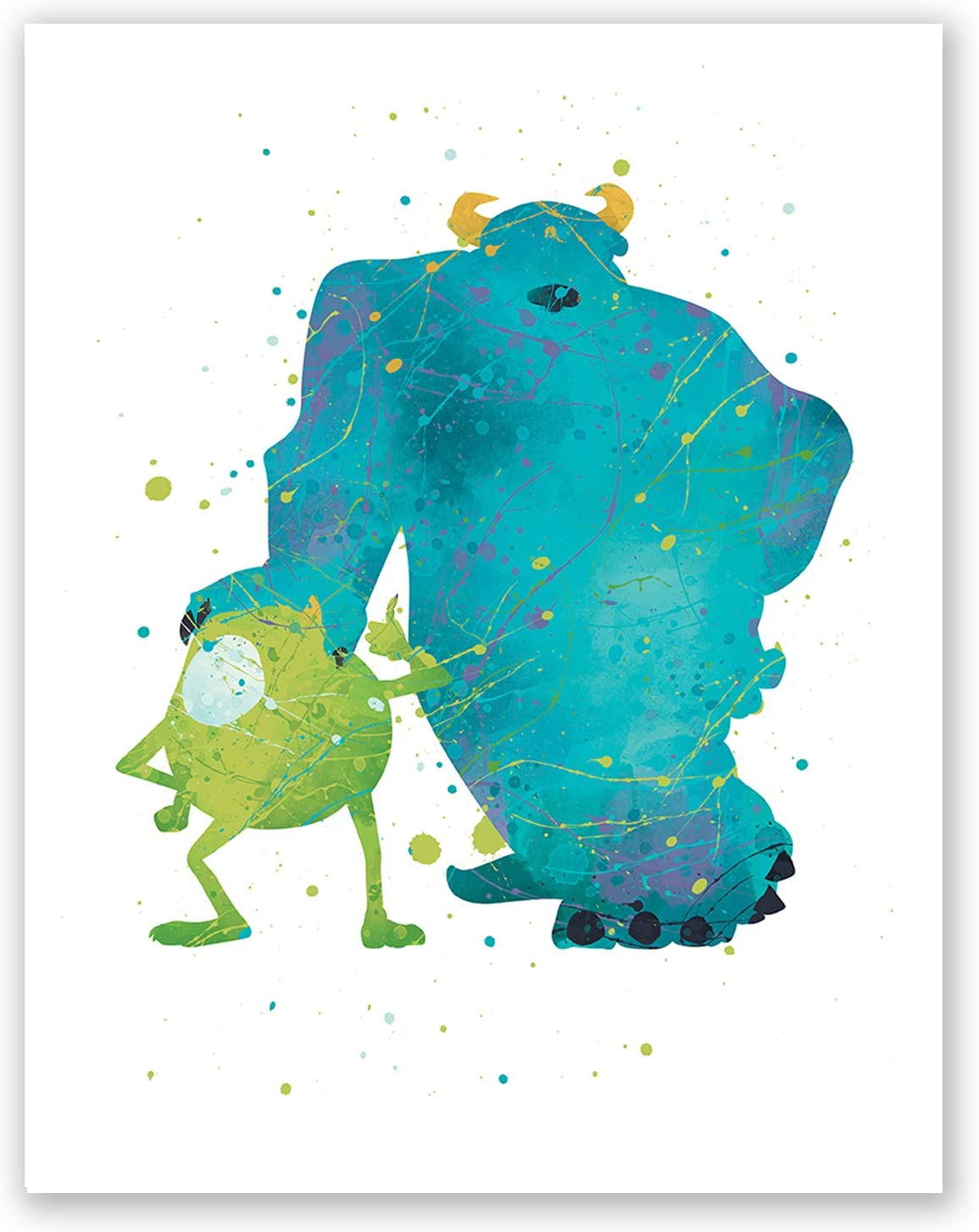 Amazon Com Pgbureau Monsters Inc Poster Sully And Mike Wazowski Wall Art Print Party Birthday Decoration Watercolor Artwork Illustration Kids Room Nursery Home Decor 8x10 Posters Prints