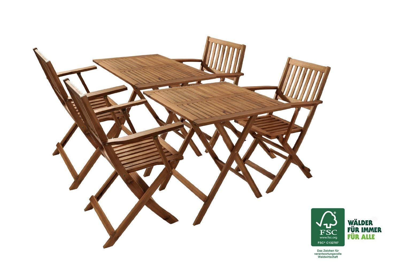 Garten sitzgruppe camelia akazienholz geölt fsc 100 4 stühlen und 2 tischen 60x60 cm klappbar