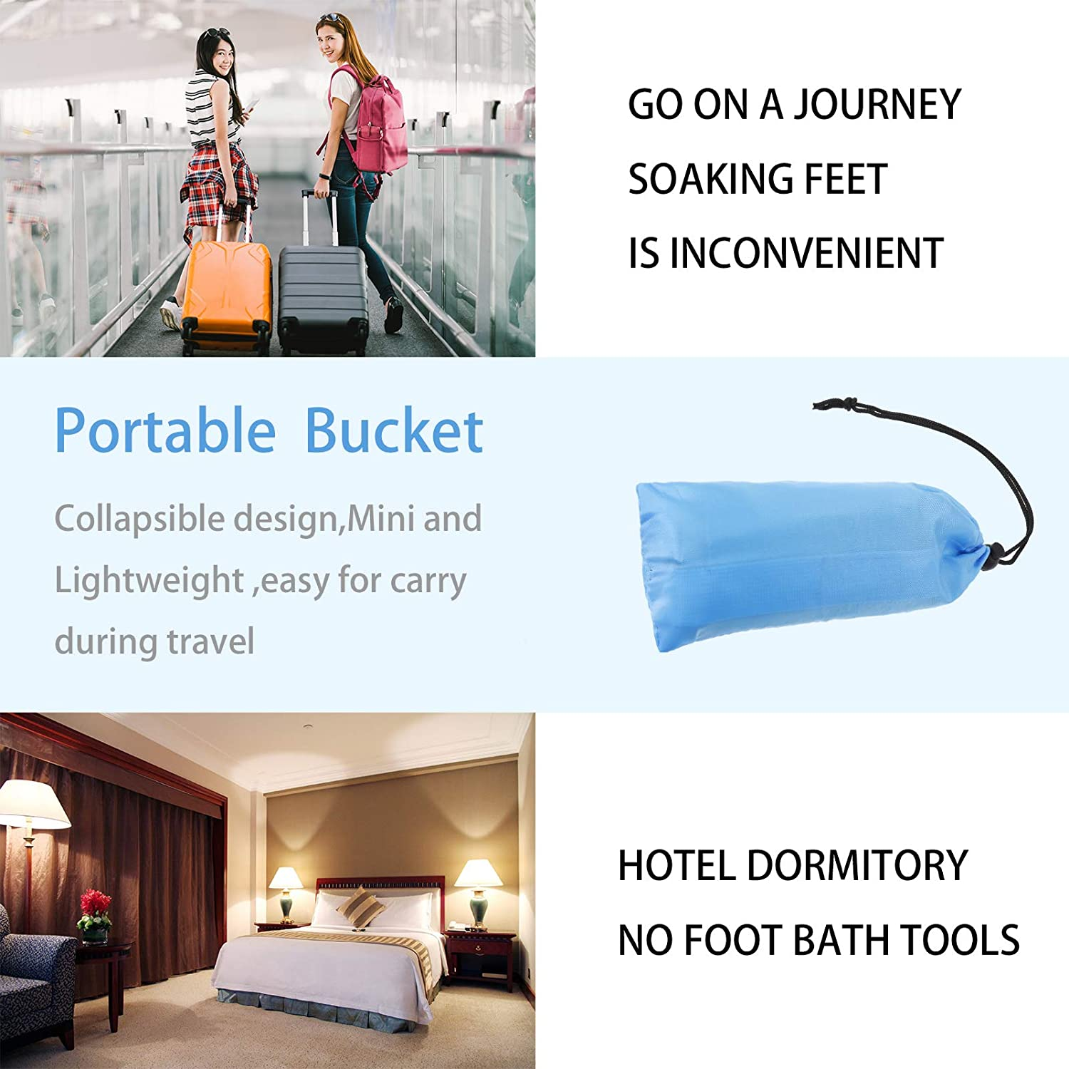 PORTOWN Collapsible Foot Basin for Travel Blue 12L Foot Bath Tub Portable Foot Soak Spa Basin Multifunctional Folding Water Bucket for Outdoor,Traveling,Camping Hiking /& Fishing