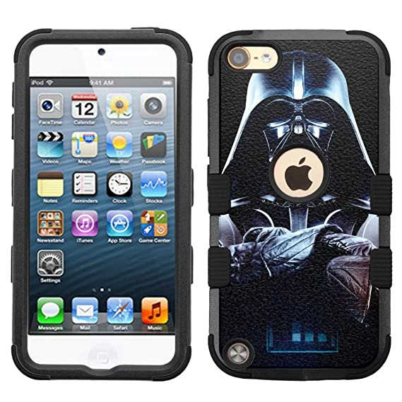 on sale f02ee 1a374 for iPod Touch 5/6, Hard+Rubber Dual Layer Hybrid Rugged Armor Cover Case -  Star Wars Darth Vader