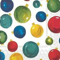 Boston International IHR 3-Ply Lunch Paper Napkins, 6.5 x 6.5-Inches, Pretty Tree Ornaments