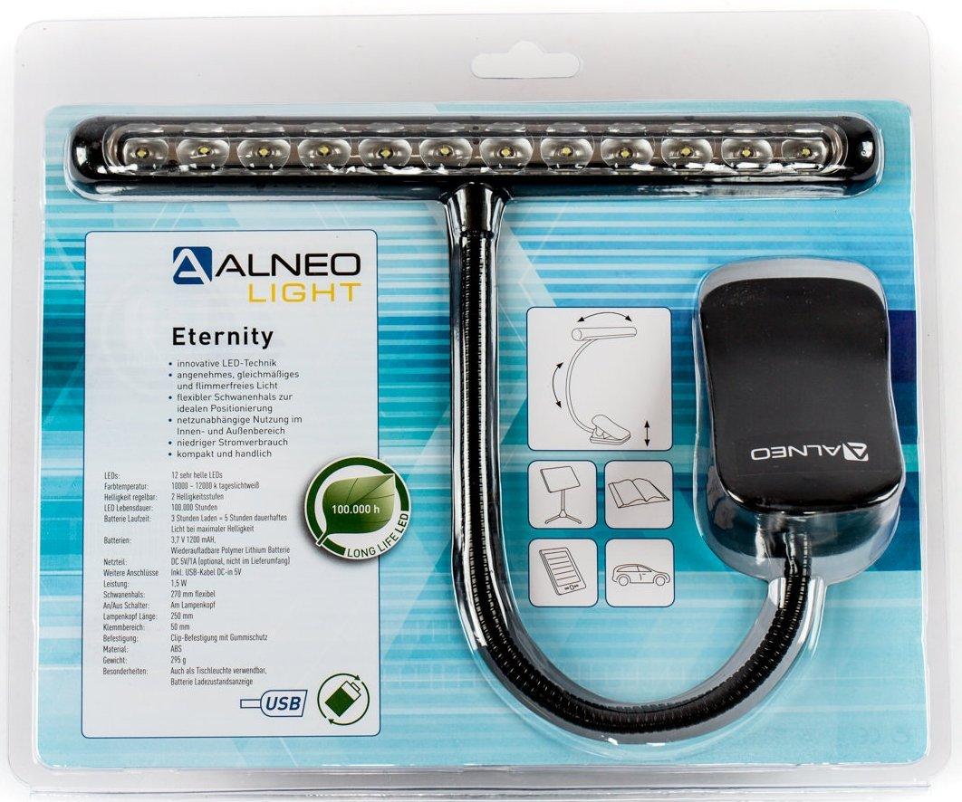 Alneo Light Eternity Pianolampe zum Klemmen Akku LED Light mit 12 LEDs Schwarz Alneo GmbH