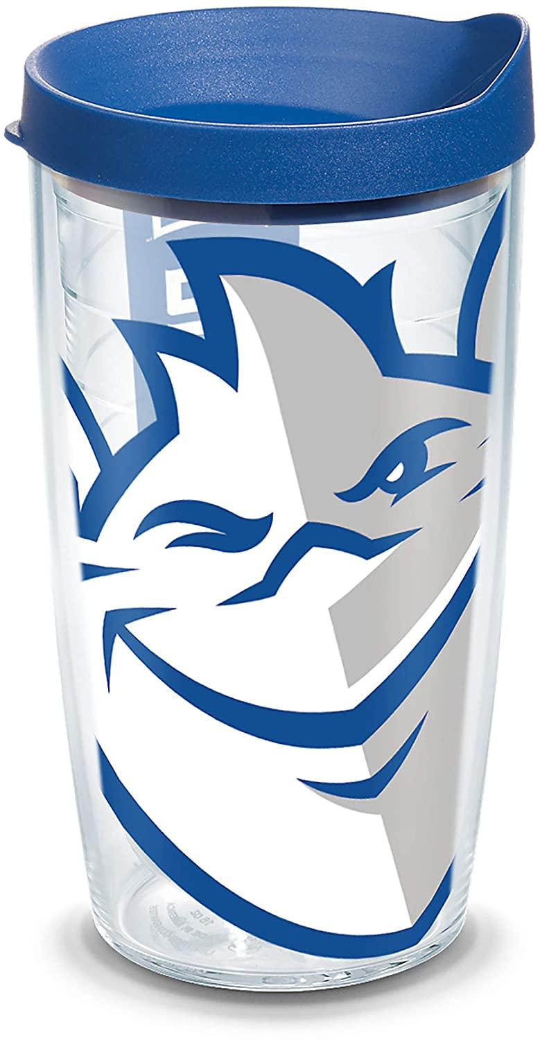 Tervis 1266534 Saint Louis Billikens Colossal Insulated Tumbler with Wrap and Blue Lid 16oz Clear