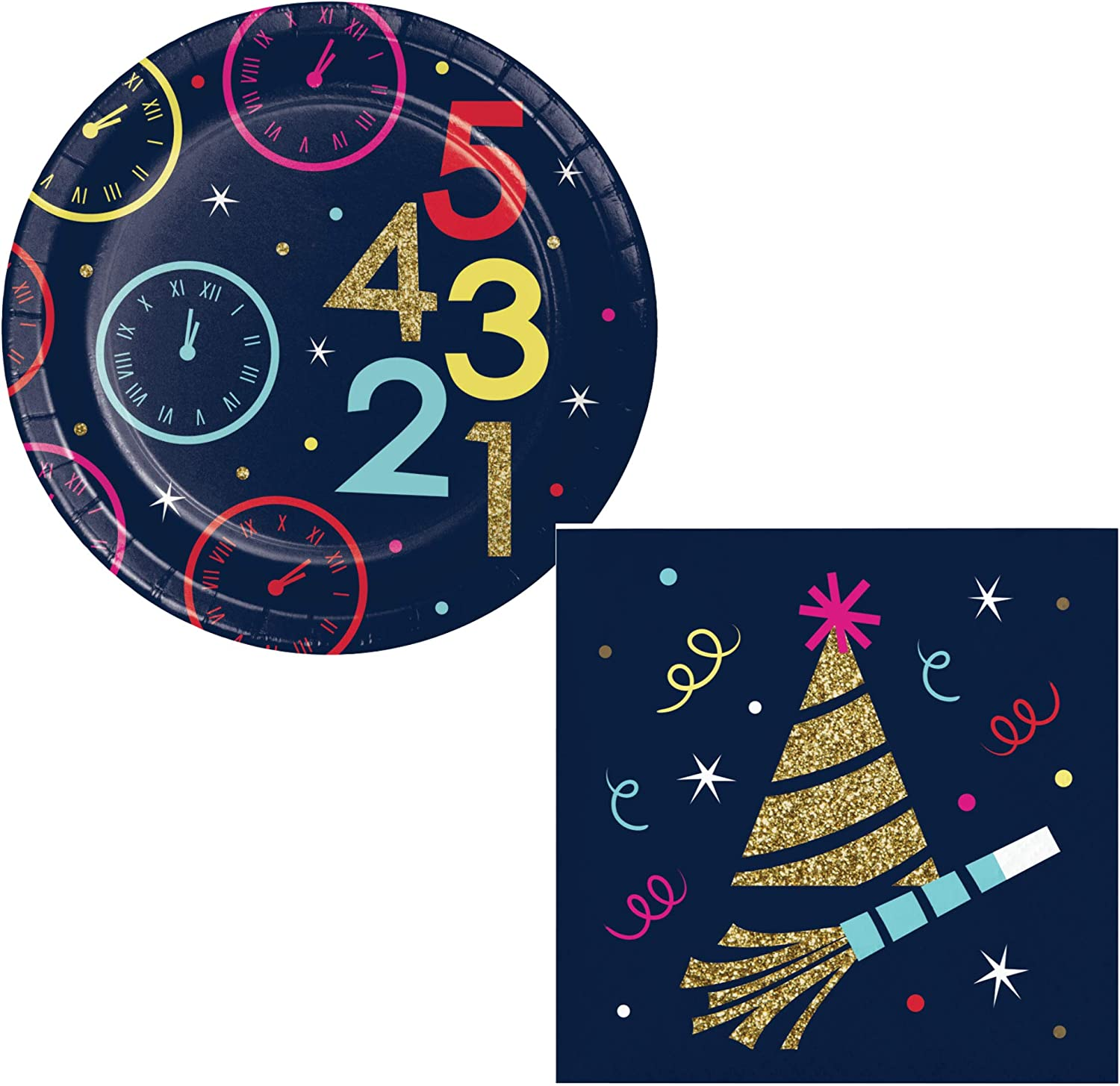 New Years Eve Dessert Party Supplies for 16 People | Midnight Countdown Themed Bundle | Paper Dessert Plates and Napkins