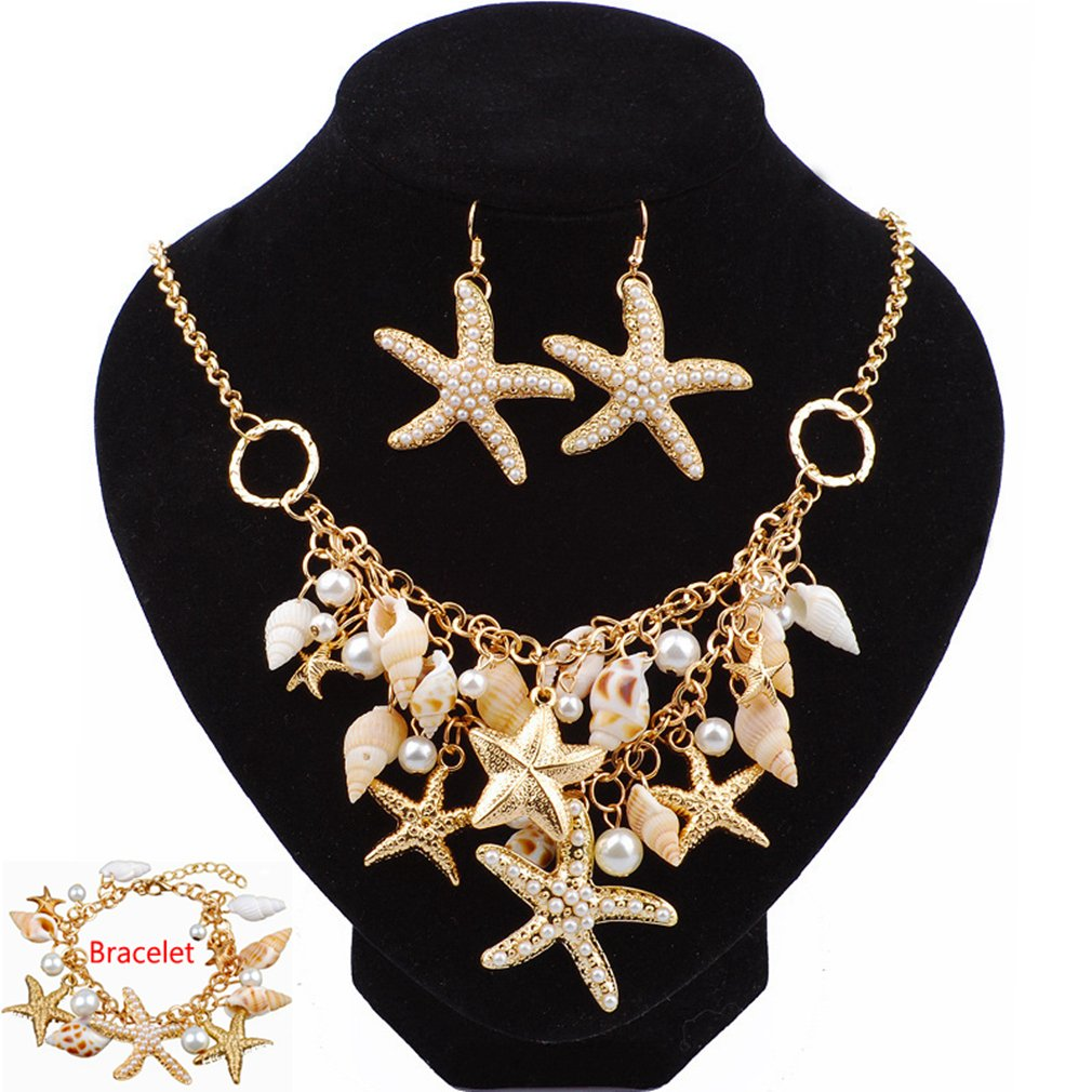 SANCAN 2018 Ocean Jewelry Sets Fashion Sea Shell Starfish Faux Pearl Collar Bib Statement Chunky Necklace Earrings Bracelet (S2)