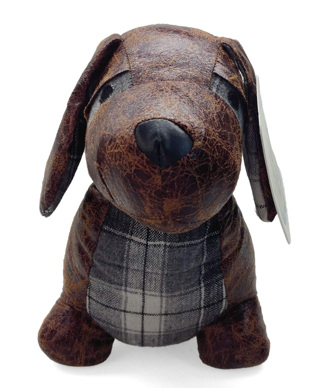 Faux Leather Dachshund Door Stopper - Adorable Faux Leather and Plaid Animal Gift Home Decoration