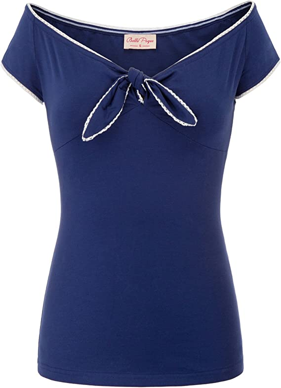 What Did Women Wear in the 1950s? 1950s Fashion Guide Belle Poque Women's V-Neck Short Sleeve Off Shoulder Retro Vintage Sexy Tops $19.99 AT vintagedancer.com