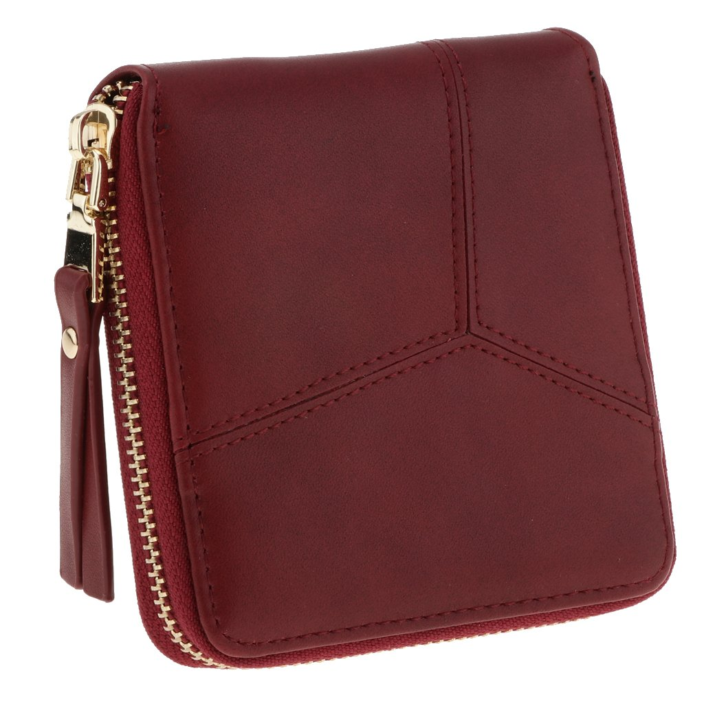 Prettyia Women's Bifold PU Leather Wallet Ladies Mini Purse Small Zipper Coin Card Holder - Burgundy, as described