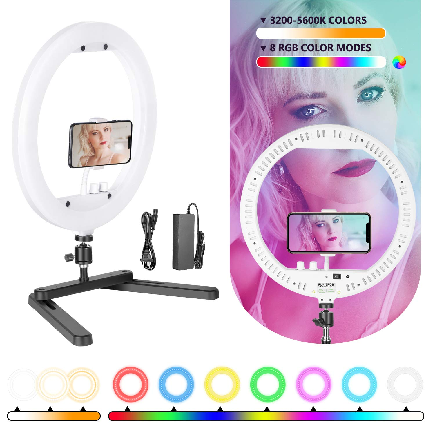 Neewer Ring Light, 13-inch RGB Dimmable LED Ring Light with Foldable Table-top Bracket/Phone Holder/Ball Head, 8 RGB Colors and 3200K-5600K Colors Desktop Ring Light for Selfie Makeup YouTube Video by Neewer
