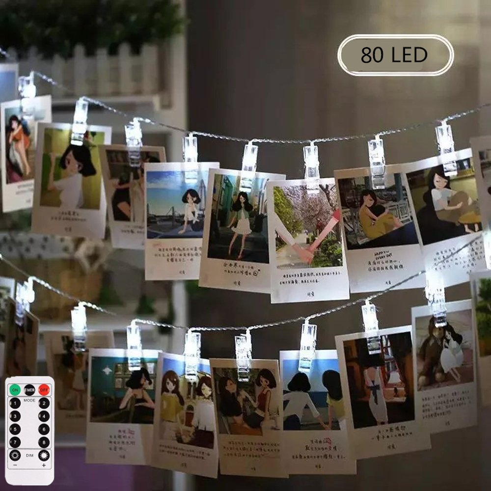 LIGHTESS Photo Clips String Lights Holder Battery Powered 80 LED 26ft Christmas Lights Decorations with Remote Control for Hanging Xmas Picture Cards Wedding Party Wall Decor, Cool White