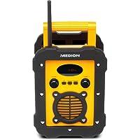 Medion Life E66262 Spritzwassergeschütztes Freizeitradio/Baustellenradio, IP441, UKW/MW Radio, 50 Watt Lautsprecher, Aux Eingang, Gelb