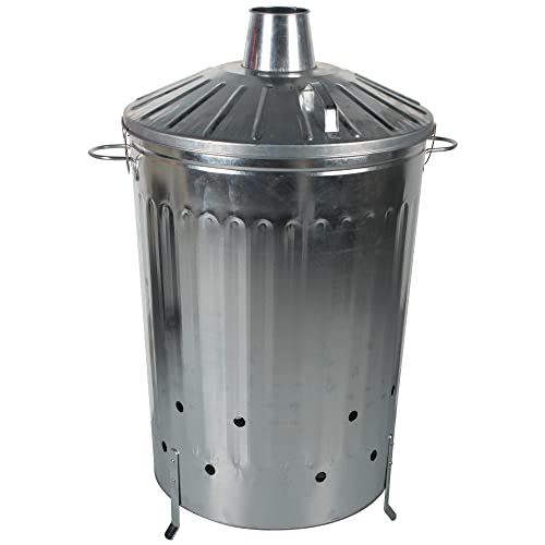 CrazyGadget Small Medium Large Extra Large Galvanised Metal Incinerator Fire Burning Bin with Special Locking Lid (125 Litre)