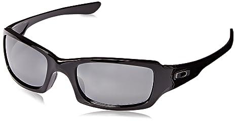 2067ef07a523fb Amazon.com  Oakley Fives Squared OO9238 Sunglasses - 06 Polished Black  (Black Iridium Polarized Lens) - 54mm  Oakley  Clothing