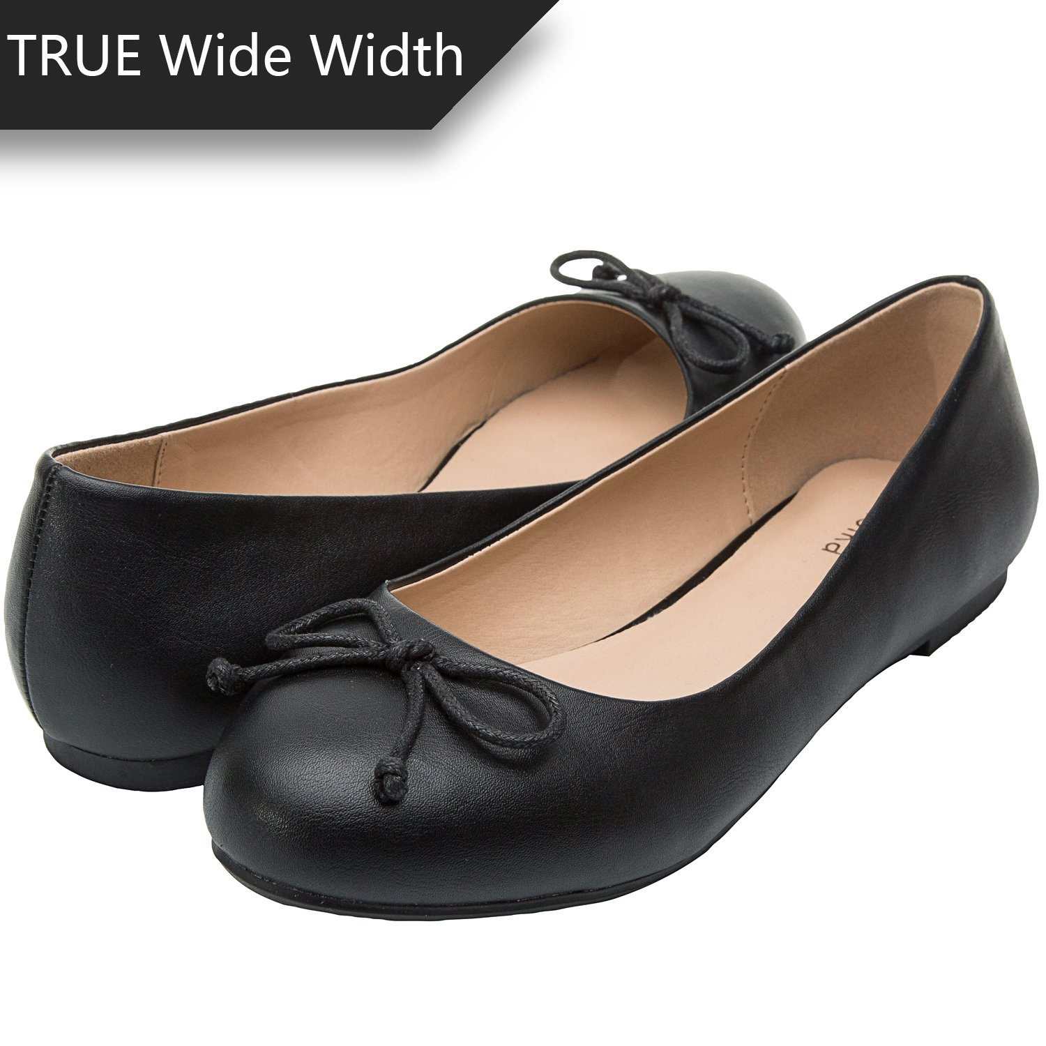 Luoika Women's Wide Width Flat Shoes - Comfortable Slip On Round Toe Ballet Flats.(180338 Black,10WW)