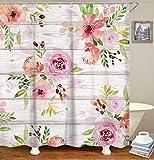 LIVILAN Pink Flower Shower Curtain Set with 12