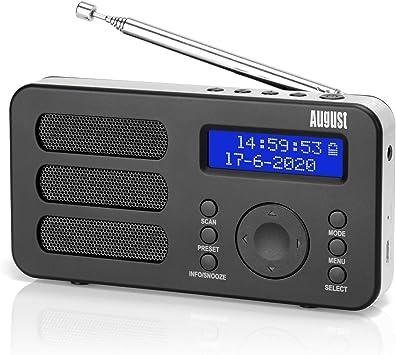 Radio Portátil Digital Dab/Dab+/FM – August MB225 – Radio Pequeña con Batería Recargable: Amazon.es: Electrónica