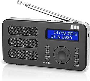DAB Portable Digital Radio - August MB225 - DAB+ /FM - RDS Function, 40 Presets, Stereo/Mono Portable Radio, Dual Alarm, Rechargeable Battery, Headphone Jack