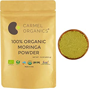 Organic Moringa Leaves Powder | Non GMO | Kosher | Vegan | Super Food for Smoothies and Drinks (16 Oz)