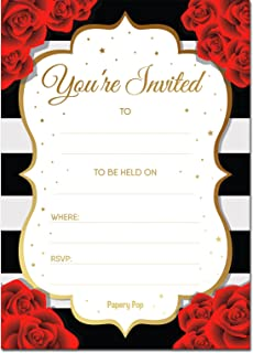 amazon com 50 fill in invitations black wedding invitations