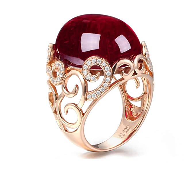 Anillo Pareja Compromiso Anillo de Diamante 31.78CT de 18K de Oro Anillo de Rojothttps://amzn.to/2M9yws9