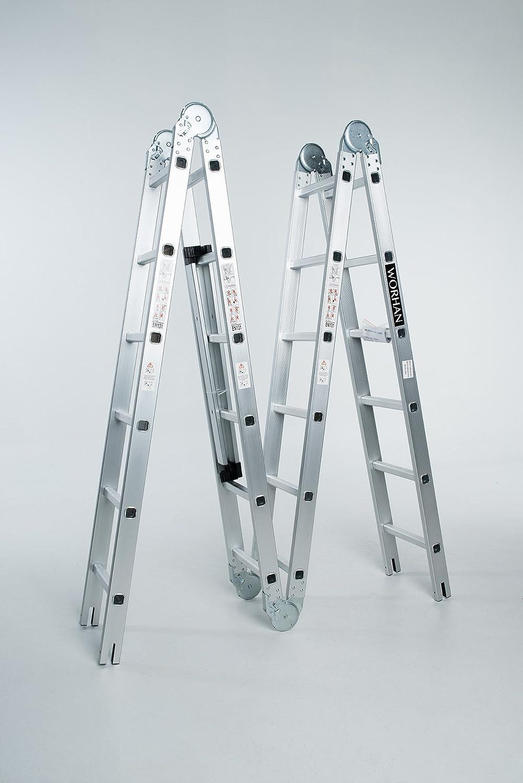 WORHAN® 6.7m Escalera Multiuso Multifuncional Plegable 670cm Tijera Bisagra Grande Aluminio con 2 Estabilizadores Nueva Generación Calidad Alta KS6.7: Amazon.es: Bricolaje y herramientas