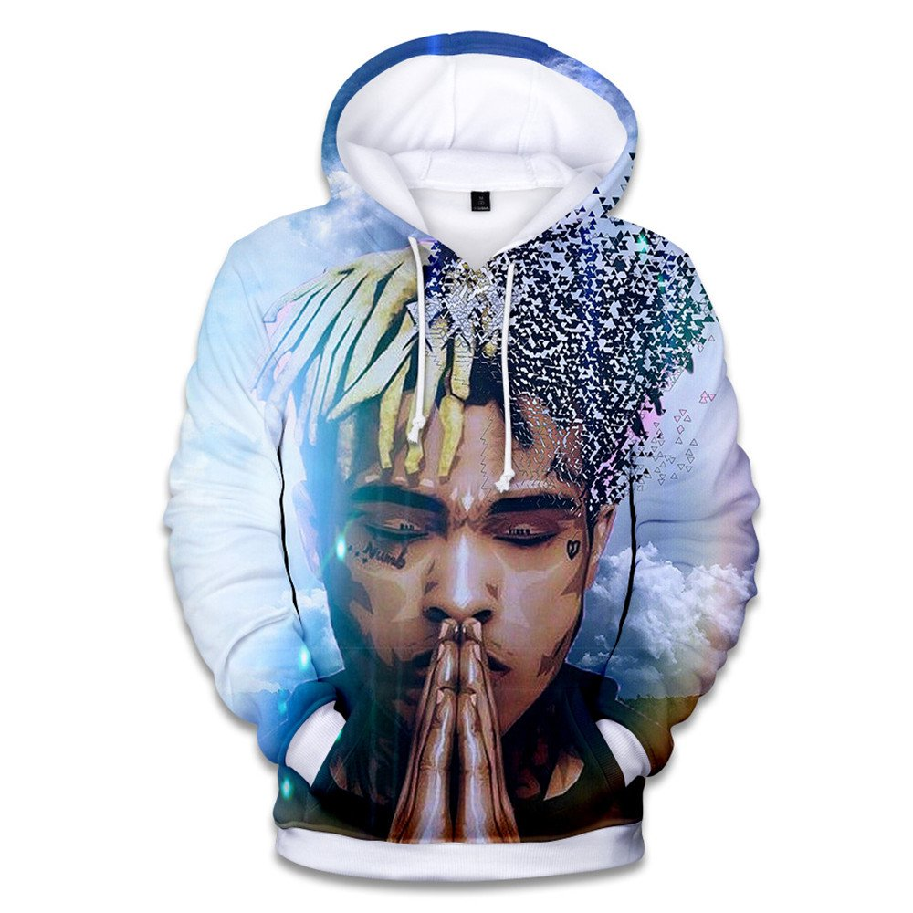 VOSTE Xxxtentacion Hoodie 3D Printed Hooded Pullover Sweatshirt (Medium, Color 3)