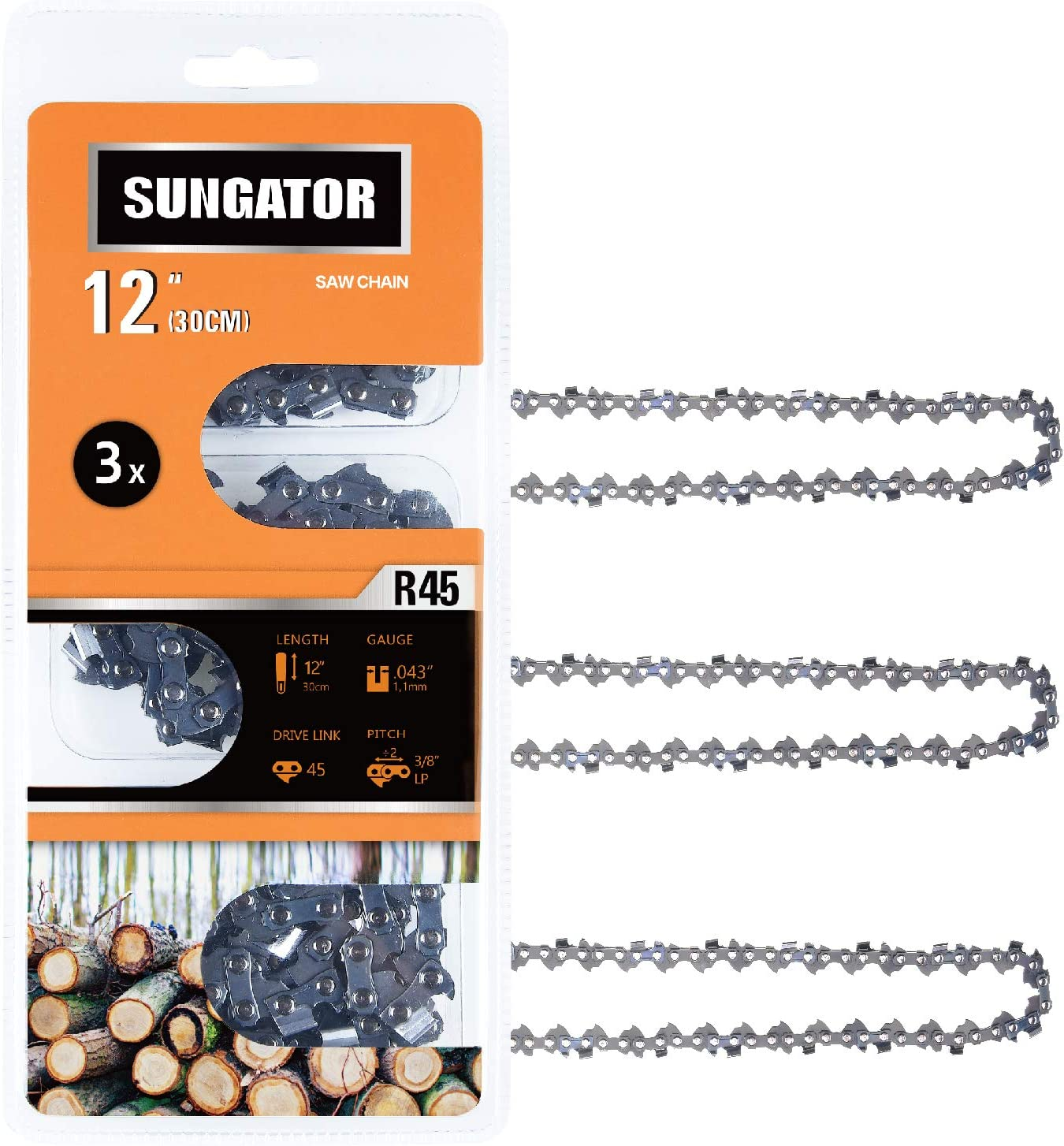 "SUNGATOR 3-Pack 12 Inch Chainsaw Chain SG-R45, 3/8"" LP Pitch - .043"" Gauge - 45 Drive Links, Fits Craftsman, Husqvarna, Ryobi, Dewalt"