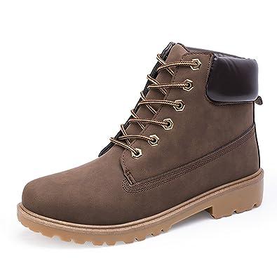 Santimon Herren Damen Leder Schnüren Sich oben Arbeit Desert Boots Stiefel Stiefeletten Outdoor Schuhe Grün 44 OxLqGd1