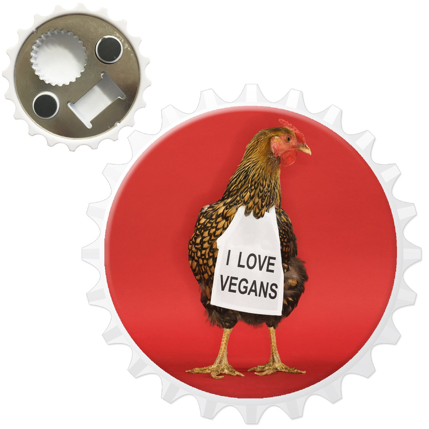 Chicken with Sign I Love Vegans Bottle Opener Fridge Magnet Snuggle Ltd