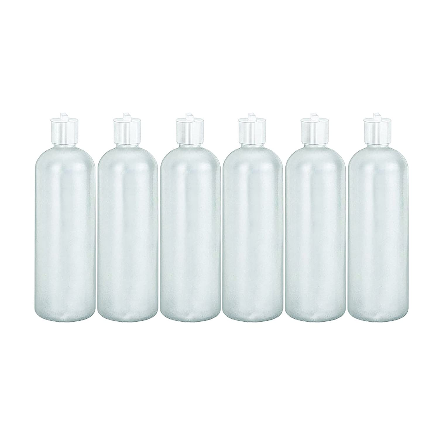 MoYo Natural Labs 32 oz Refillable Squirt Bottles, Empty Travel Containers with Turret Caps, One Quart Travel Bottles, BPA Free HDPE Plastic Squeezable Toiletry Cosmetics Bottle Pack of 6, White