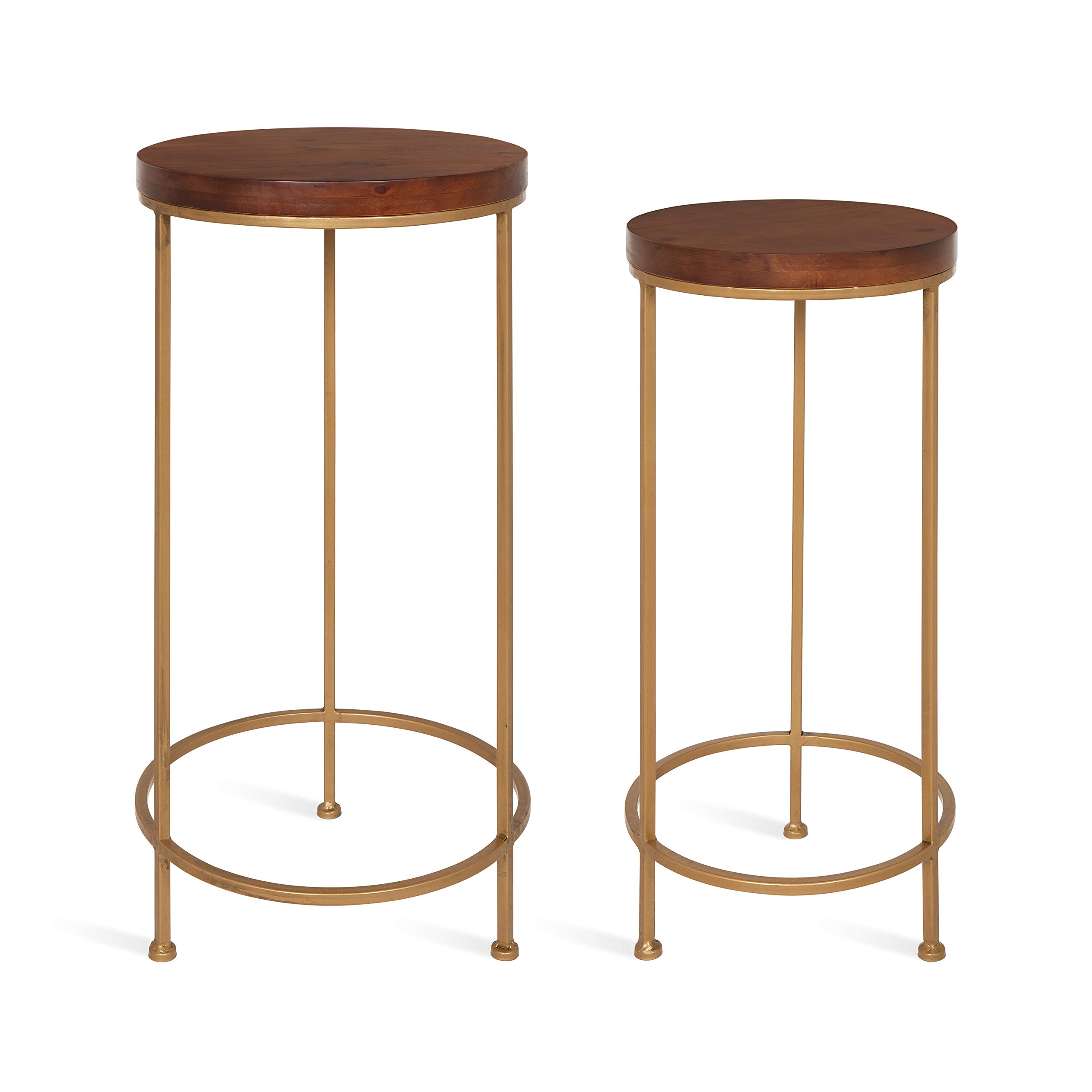 Kate and Laurel Espada Metal and Wood Nesting Tables 2 Piece Set, Walnut Top with Gold Base by Kate and Laurel
