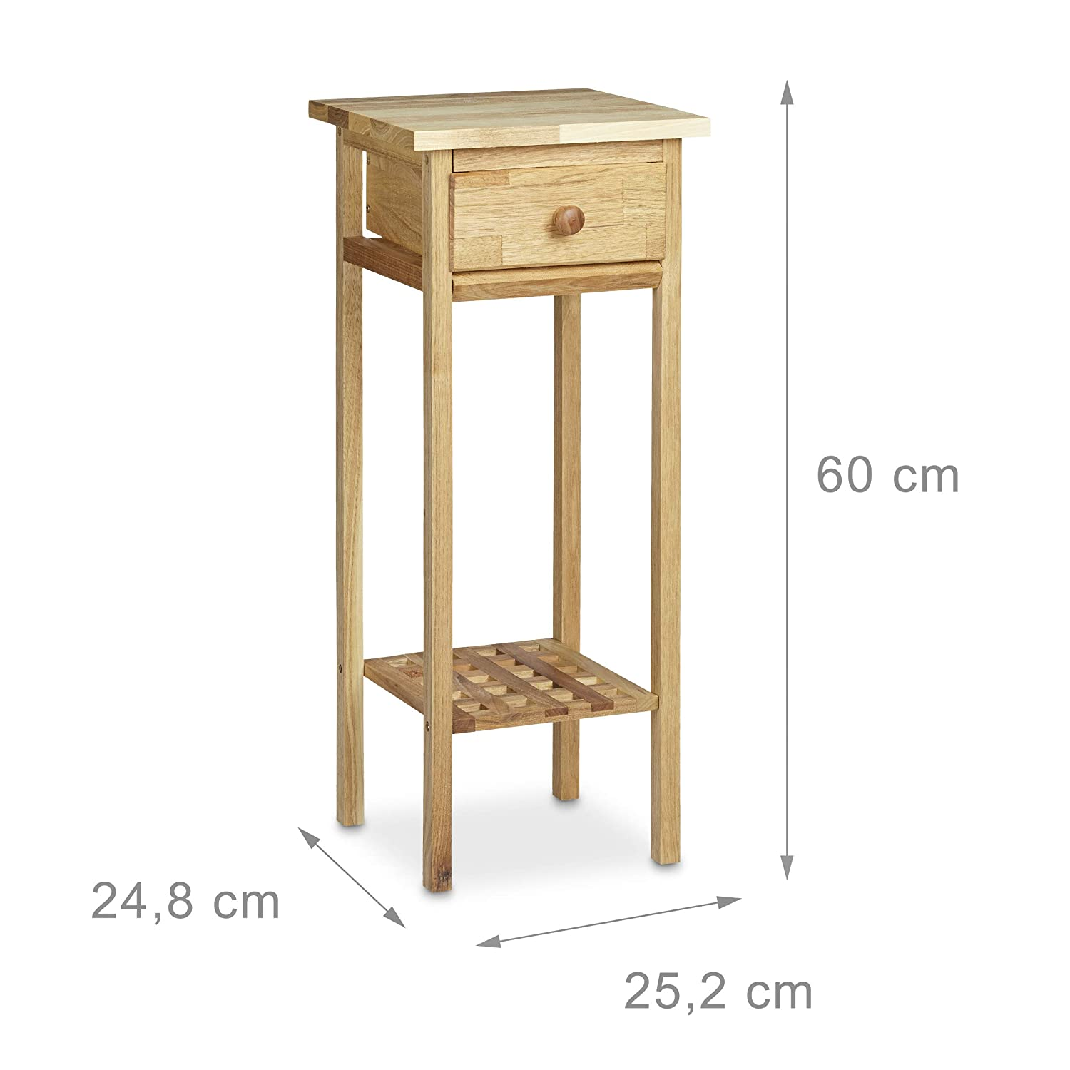 Sidetable 25 Cm.Relaxdays Walnut Telephone Table 60 X 25 X 25 Cm Side Table End Table With Drawer Console Table Wooden Plant Stand 60 Cm Tall Flower Table Natural