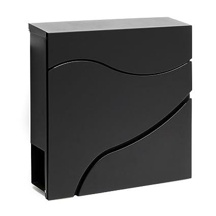 Buzón correo diseño moderno V27 Negro Bandeja soporte periódico Cartas Correspondencia Postal Casa