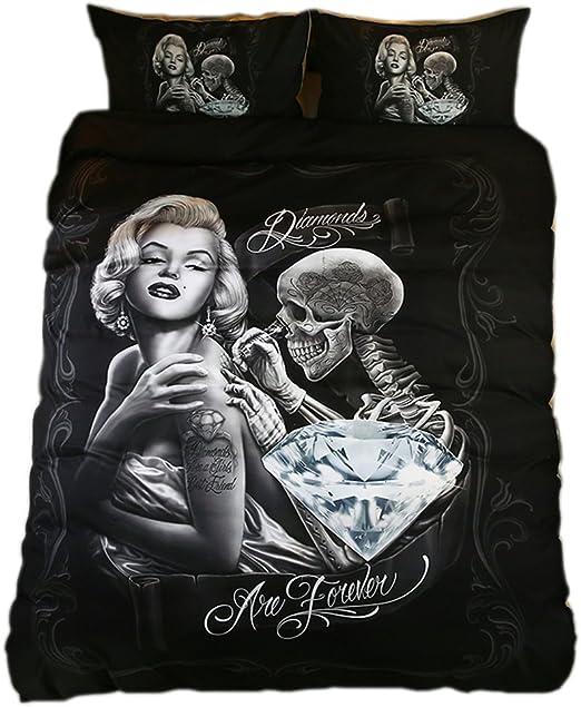 Amazon.com: KTLRR 3D Marilyn Monroe and Skull Bedding Sets,Monroe