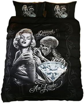 Skull White Pillow Case Full Queen King Duvet Cover Bedding Set New No Comforter