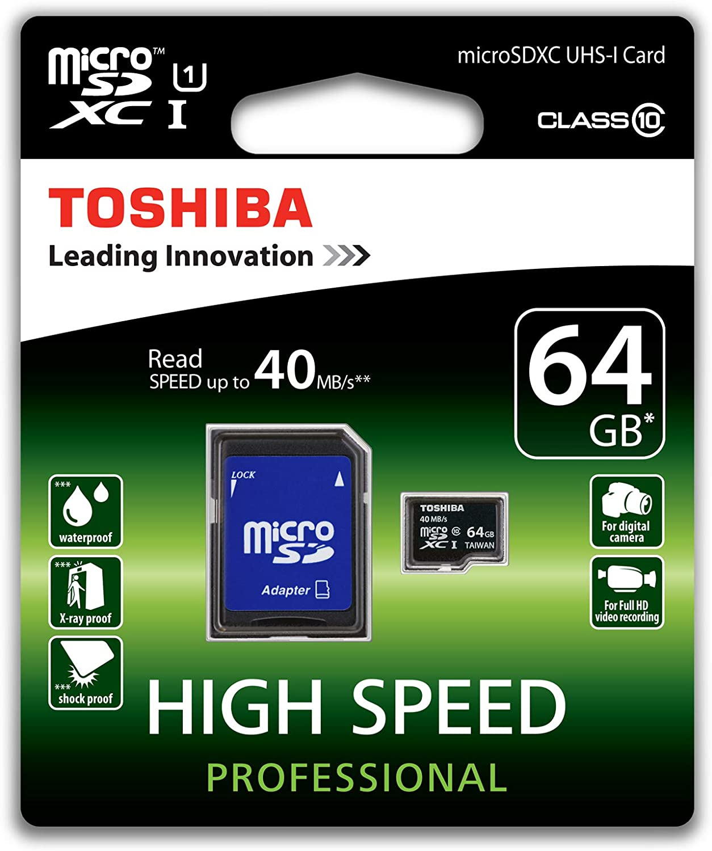 Toshiba High Speed Professional Micro Sdxc 64gb Class Computer Zubehör