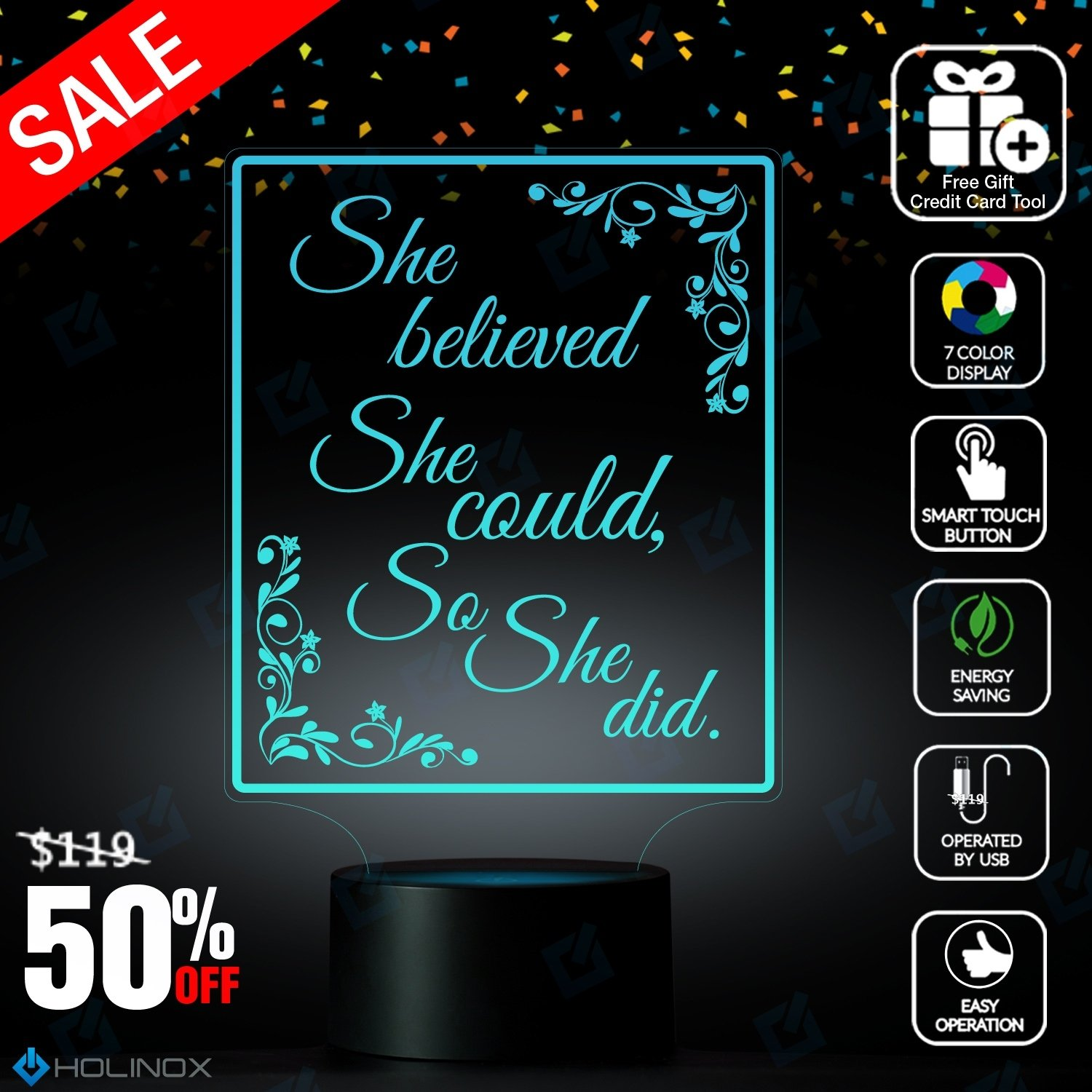 She Believed She Could So She Did, R.S Grey Quote, Scoring Wild quote, Graphic text, Decoration lamp, 7 Color Mode, Awesome gifts (MT218) by Holinox