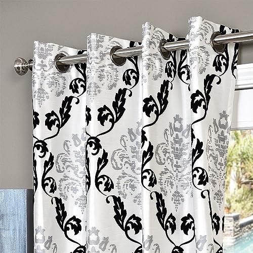 Lambrequin Arabella Flocked Curtain Panel White 54 x 96 96 Inches