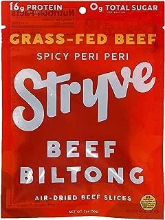 product image for Stryve Beef Biltong, Grass-fed Biltong Jerky, 16g Protein, 0g Sugar, 1g Carb, Gluten Free, No Hormones, No Antibiotics, No Preservatives, No Nitrates - Spicy Peri Peri, 2oz